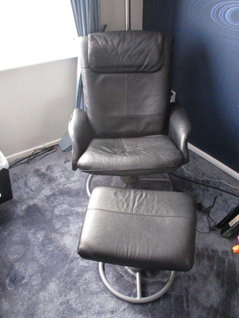 Pleasing Ikea Black Leather Reclining Chair And Foot Stool In Bracknell Berkshire Gumtree Creativecarmelina Interior Chair Design Creativecarmelinacom