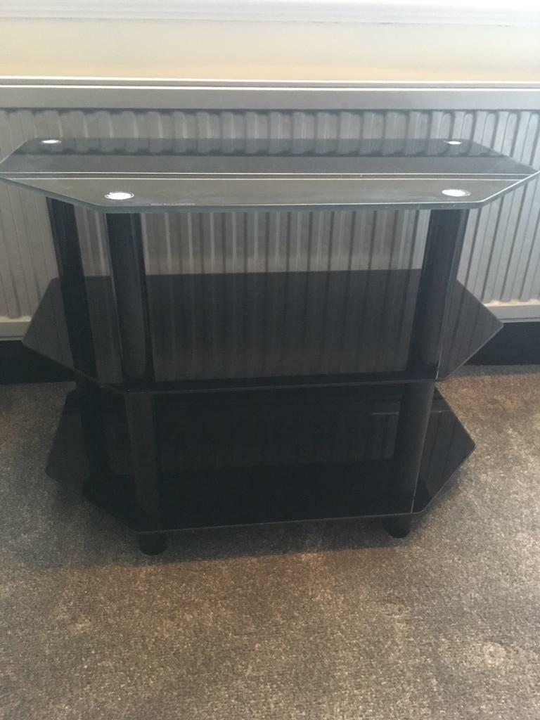 Black Glass 3-Tier TV Stand