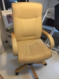 Cream leather executive style office chair