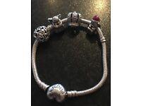 16cm Silver Pandora Bracelet with Silver heart clasp