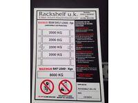 JOB LOT 10 SAFE WORK LOAD / WEIGHT LOAD SIGNS ( PALLET RACKING / SHELVING /STORAGE )