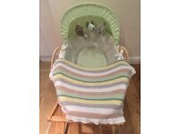 Olive and Henri (Babies r us) wicker Moses basket with wooden Mamas and Papas stand