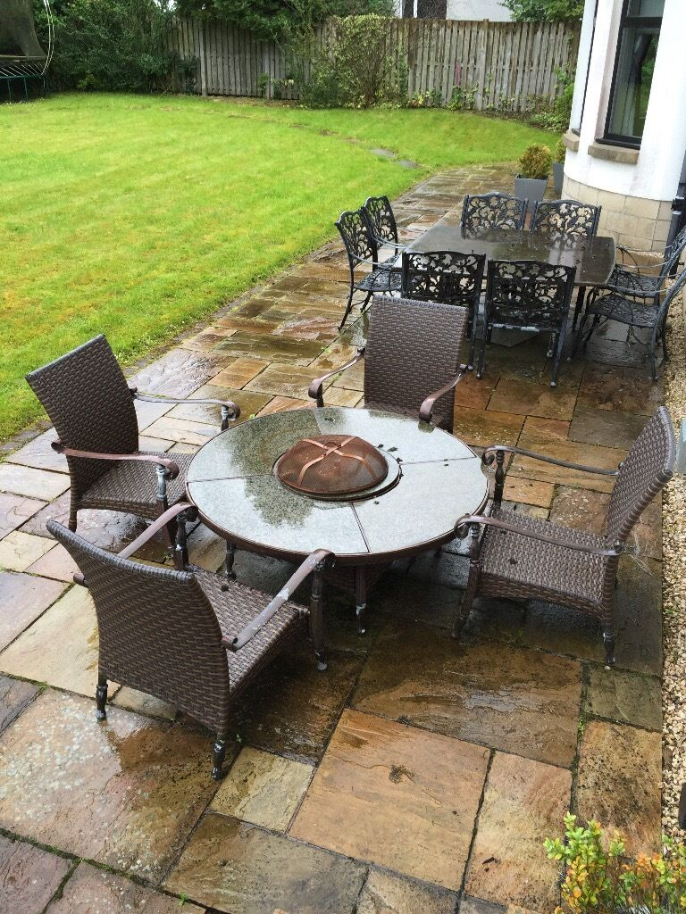 Garden furniture set with fire pit