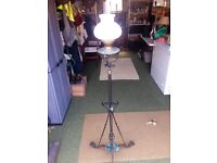Vintage, Victorian, Twin Wick Oil Lamp, On Ornate Extenable Wrought Iron Stand.