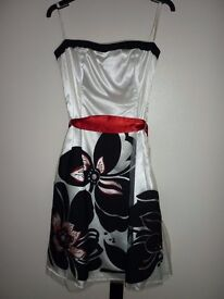 size 10 Debut prom/evening dress, white, black and red. can be worn strapless