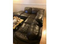LOVELY BROWN LEATHER CORNER SOFA - MUST GO ASAP - FREE DELIVERY SOME AREAS - £175