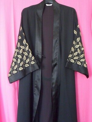 Vintage 90's 'St Michael' (M&S) Black 'KIMONO' Robe / Cover-Up / Evening / Night