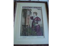 1889 Framed Christmas Print THE OLD HALL CLOCK by MARCELLA WALKER