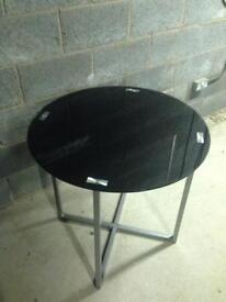Cross metal frame with black tempered glass top table
