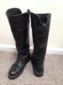 Black Leather Dubarry Clare Boots - Womens Size 40