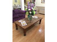 Large Indian/hammered wood coffee table