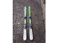 Childs skis and helmet