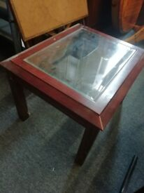 small wood / glass coffee table