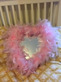 Mirror - heart shaped pink fluffy mirror
