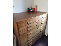 Beautiful, nine draw vintage plan chest for sale