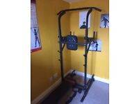 Adjustable power tower with pull up, dips, bench, low rack and ab station