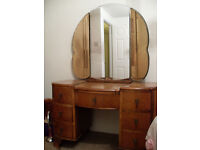 Edwardian Knee Hole Dressing Table with 3 fold mirror
