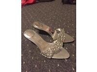 Ladies silver heel shoes