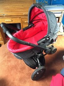 Red quinny complete travel system pushchair travelcot