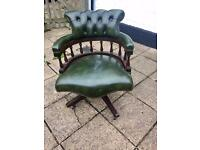 Green leather captains chair