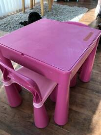 Next kids storage / Lego table with 2 chairs.