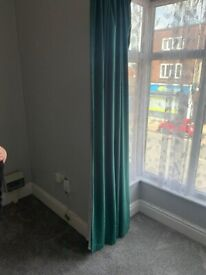 Pair Emerald green blackout curtains