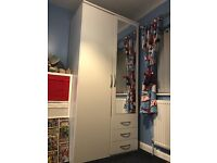 Excellent condition white wardrobe with drawers & mirrored door