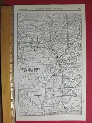 122 YEAR OLD MOBILE & OHIO RAILROAD SYSTEM MAP PRINTED IN 1895 M&O RR HISTORY ()