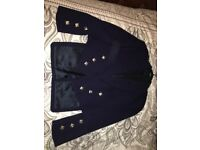 Bonnie Prince Charlie Jacket and Waistcoat in Navy Blue. Size 44r