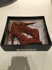 Lace up size uk4 tan heels, missguided