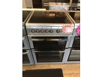 FLAVEL 60CM WIDE CEROMIC TOP ELECTRIC COOKER IN SILIVER