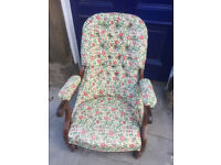 Mahogany framed slipper Chair , with floral design , Liberty Print Fabric. feel free to view