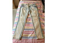 Zara washed jeans, waist size 38, excellent condition, barely worn