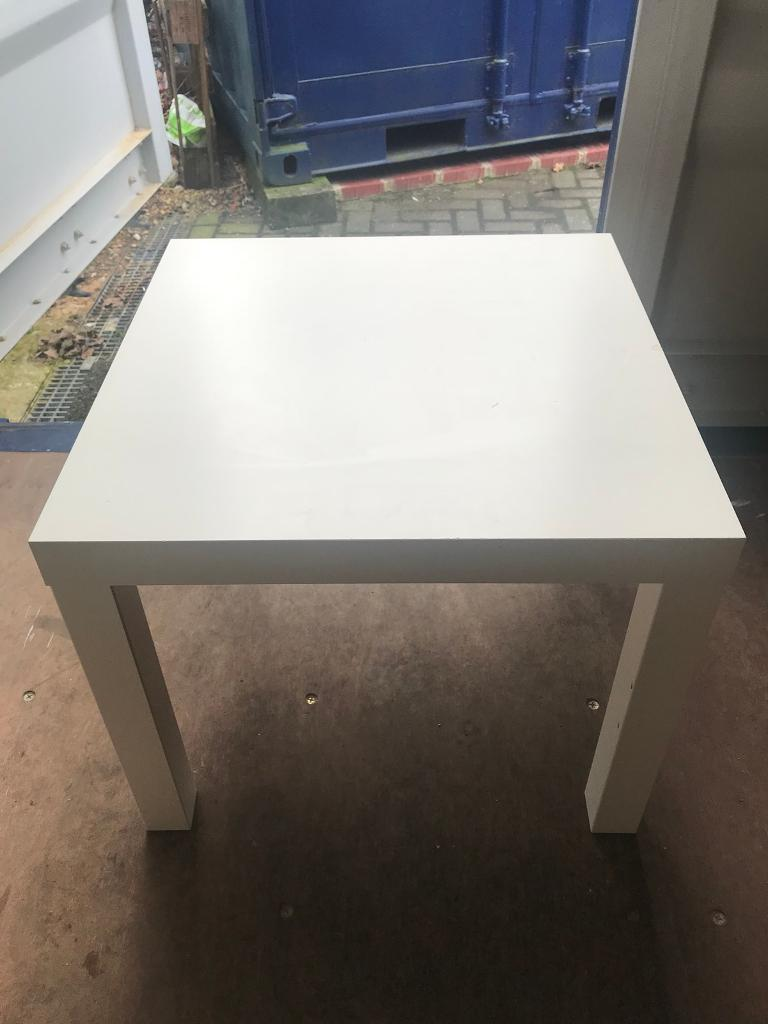 White square table.
