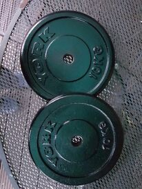 20KG (2 X 10KG) WEIGHT IRON PLATES, BARBELL DISCS