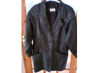BLACK REAL LEATHER 3/4 COAT - JACKET Size 12/14 – Pre-owned