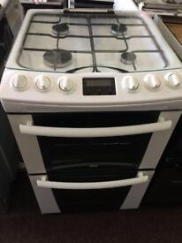 White zanussi 55cm gas cooker grill & double ovens good condition with guarantee
