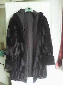 Vintage Black faux fur reversible waterproof with hood