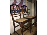 Fine Pair of Vintage Stained Beech Bedroom Hall Side Occasional Chairs with Caned Seats