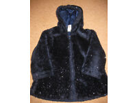 Navy blue SPARKLY FURRY COAT - fully lined IMMACULATE age 3-4 +FREE FARM DOMINOES GAME +FREE JUMPER