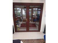 Mahogany coloured upvc double French Doors