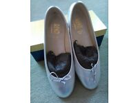 "BRAND NEW RIVA SILVER ""LULU"" BALLERINA SHOES SIZE 42 (8) 100% LEATHER MADE IN ITALY"