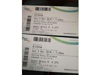Elbow x 2 tickets. Sat 3rd March in Birmingham