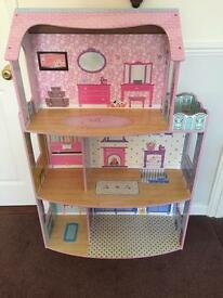 Dolls house with furniture and lots of extras