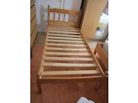 PINE SINGLE BED & GOOD QUALITY MATTRESS