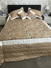 King Size Throw Over Bedspread, Pillow Shams and Cushions