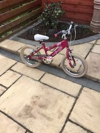 """RALEIGH KRUSH 16"""" GIRLS BIKE IN EXCELLENT USED CONDITION"""