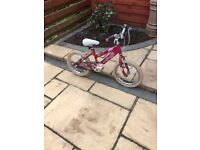 "RALEIGH KRUSH 16"" GIRLS BIKE IN EXCELLENT USED CONDITION"