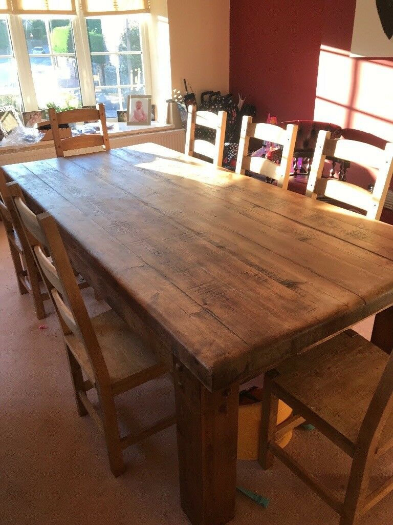 Wooden Dining Table With Matching 10 Chairs Rotherham