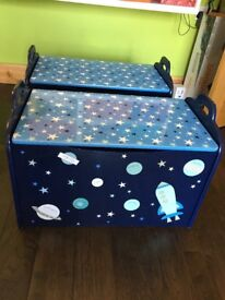 Space themed wooden Toy Boxes